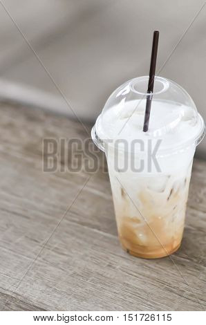 glass of iced cocoa iced cappucino coffee or iced chocolate