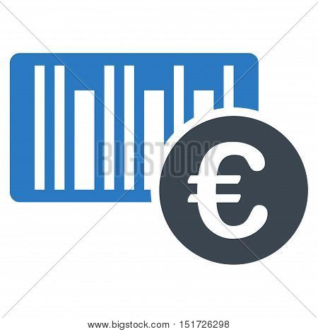 Euro Bar Code Price icon. Vector style is bicolor flat iconic symbol, smooth blue colors, white background.