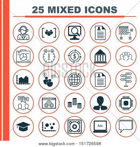 Set Of 25 Universal Icons On Education Center, Curriculum Vitae, Discussion And More Topics. Vector