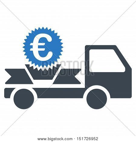 Euro Gift Delivery icon. Vector style is bicolor flat iconic symbol, smooth blue colors, white background.