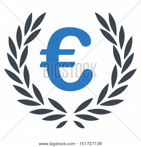 Euro Laurel Wreath icon. Vector style is bicolor flat iconic symbol, smooth blue colors, white background.