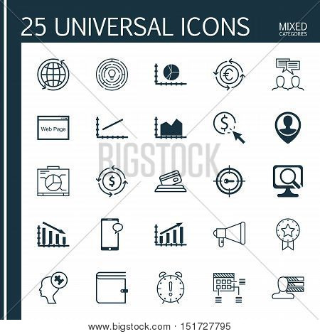 Set Of 25 Universal Icons On Messaging, Schedule, Currency Recycle And More Topics. Vector Icon Set