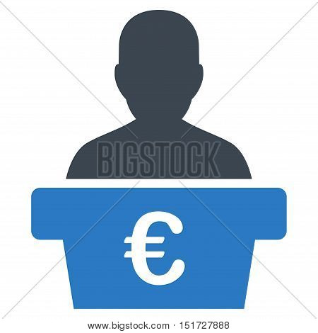 Euro Politician icon. Vector style is bicolor flat iconic symbol, smooth blue colors, white background.
