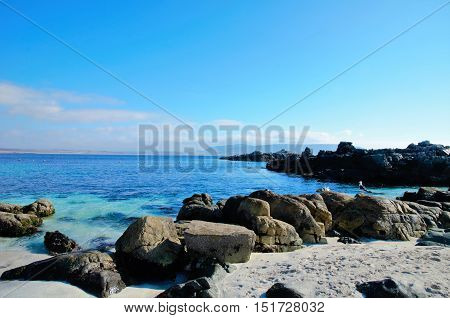 Panoramic view onto the ocean at the beach in Bahia Inglesa ina Chile, South America