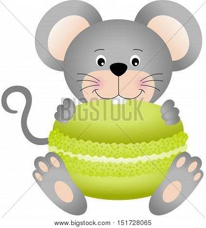 Scalable vectorial image representing a mouse eating macaroon, isolated on white.