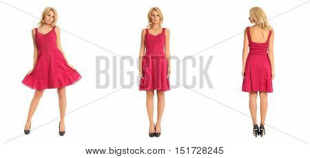 Beautiful Blonde Woman In Red Cocktail Dress Isolated On White