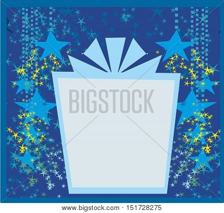 gift box abstrac frame card , vector illustration