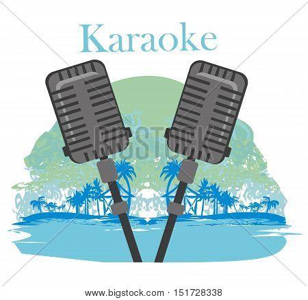 Karaoke night icon poster card , vector illustration