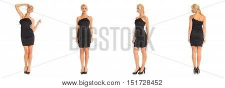 Beautiful Blonde Woman In Black Cocktail Dress Isolated On White