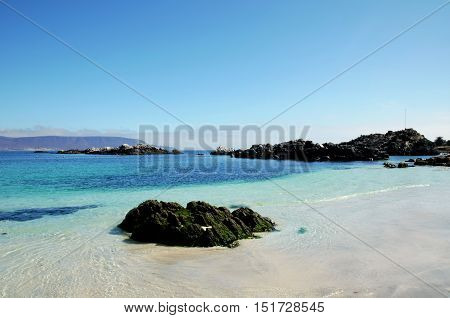 Panoramic view onto the ocean at the beach in Bahia Inglesa in Chile, South America
