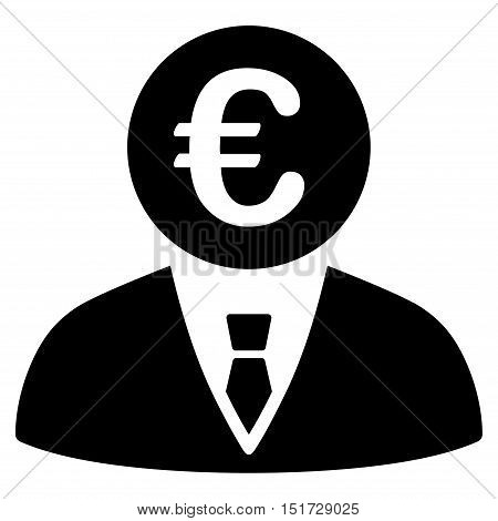 Euro Clerk icon. Vector style is flat iconic symbol, black color, white background.