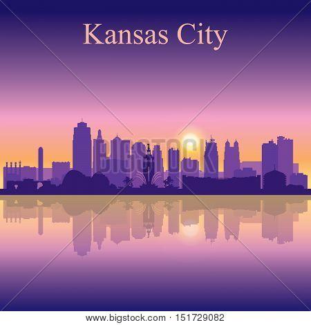 Kansas City Silhouette On Sunset Background