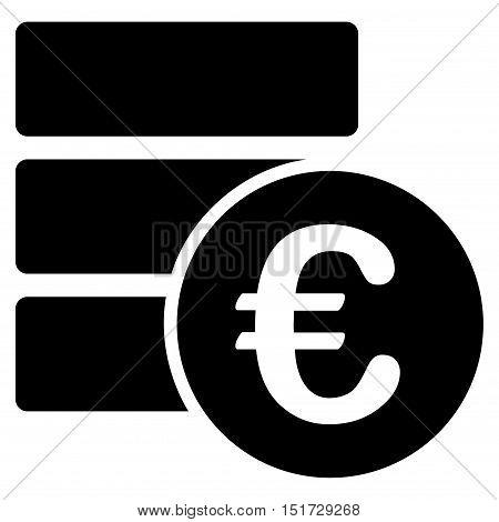Euro Database icon. Vector style is flat iconic symbol, black color, white background.