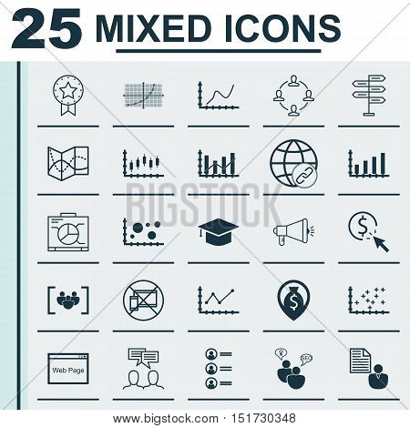Set Of 25 Universal Icons On Media Campaign, Raise Diagram, Present Badge And More Topics. Vector Ic