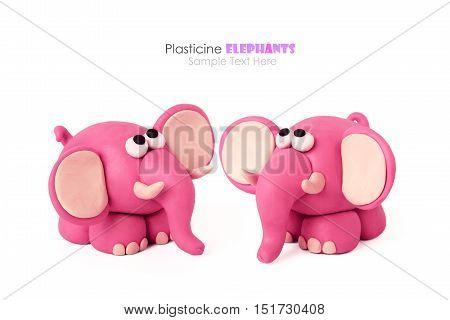 Plasticine cartoon candy pink fun elephants couple on a white background