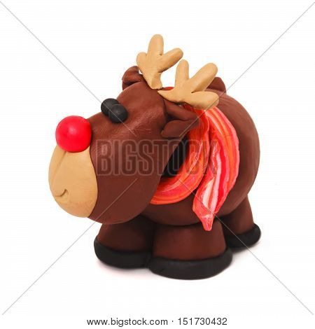 Plasticine cartoon deer with red scarf on a white background