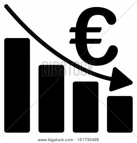 Euro Recession Bar Chart icon. Vector style is flat iconic symbol, black color, white background.