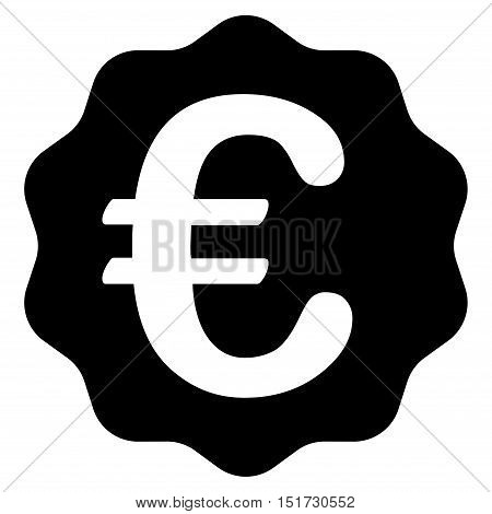 Euro Reward Seal icon. Vector style is flat iconic symbol, black color, white background.