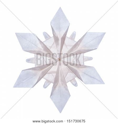 Origami paper fragility transparent christmas winter cold blue snowflakes on a white background