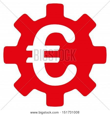 Euro Machinery Gear icon. Vector style is flat iconic symbol, intensive red color, white background.