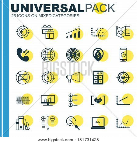 Set Of 25 Universal Icons On Job Applicants, Ppc, Digital Media And More Topics. Vector Icon Set Inc