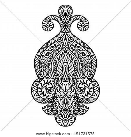 Indian ethnic ornament. Hand drawn henna tattoo decorative element.