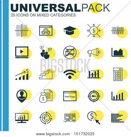 Set Of 25 Universal Icons On Media Campaign, Currency Recycle, Growth And More Topics. Vector Icon S