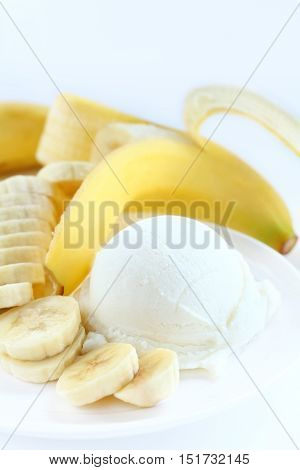 Ice cream banana is sweet clean food in a cup.