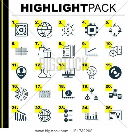 Set Of 25 Universal Icons On Fail Graph, Blank Cd, Line Up And More Topics. Vector Icon Set Includin