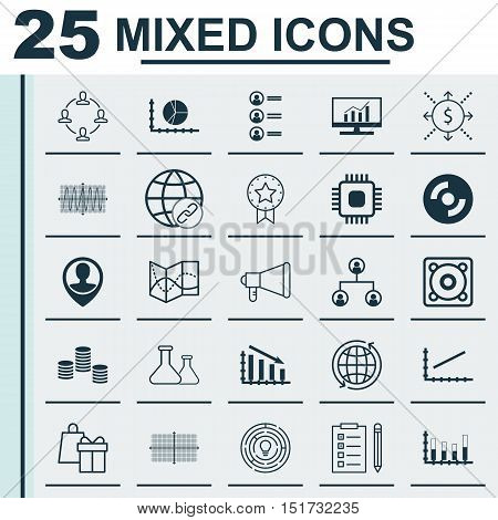 Set Of 25 Universal Icons On Present Badge, Chip, Music And More Topics. Vector Icon Set Including S