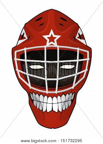 Vector illustration. Hockey goalie helmet with a toothy smile and evil face inside isolated on white background. Design element for your stickers, card, posters, emblems, web design