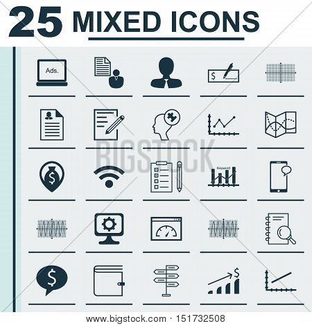 Set Of 25 Universal Icons On Digital Media, Sinus Graph, Line Up And More Topics. Vector Icon Set In