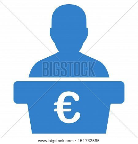 Euro Politician icon. Vector style is flat iconic symbol, cobalt color, white background.