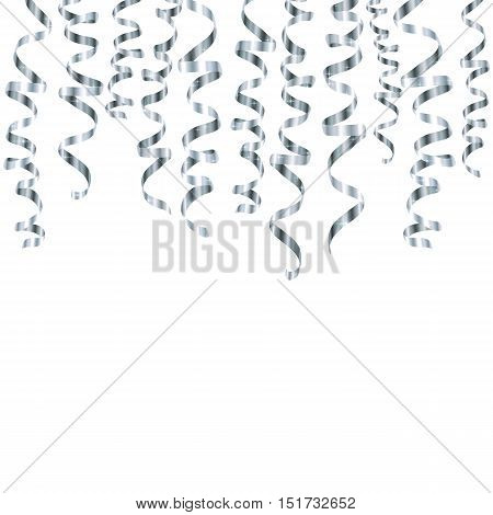 Vector silver serpentine ribbons hanging from the top isolated on white background