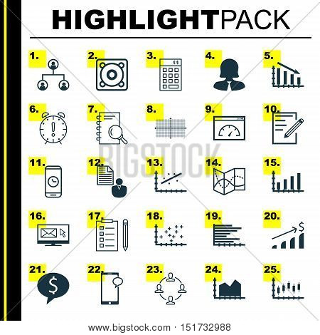 Set Of 25 Universal Icons On Road Map, Stock Market, Report And More Topics. Vector Icon Set Includi