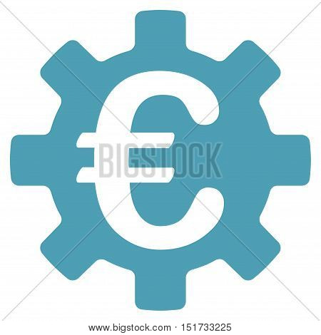 Euro Machinery Gear icon. Vector style is flat iconic symbol, cyan color, white background.