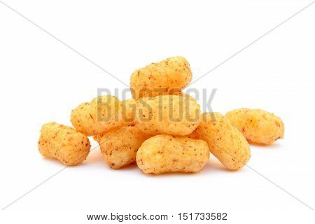 Peanut puffs isolated with white background, corn