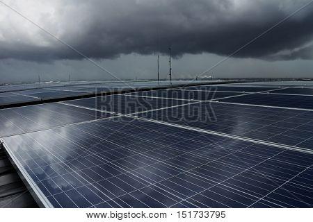 Solar PV Rooftop under Dark Storm Cloud