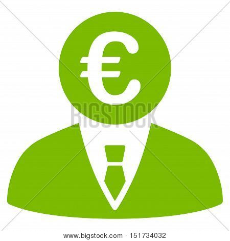 Euro Clerk icon. Vector style is flat iconic symbol, eco green color, white background.