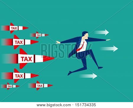 Businessman Running Away From Rocket Tax. Concept Business Illustration. Vector Flat