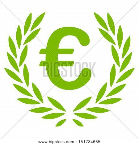 Euro Laurel Wreath icon. Vector style is flat iconic symbol, eco green color, white background.