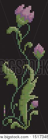 Embroidery cross stitch on a black background. Beautiful floral vector element. Pink and green colors of floss. Simple editing colors.