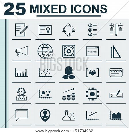 Set Of 25 Universal Icons On Job Applicants, Collaboration, Segmented Bar Graph And More Topics. Vec