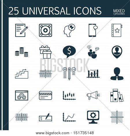 Set Of 25 Universal Icons On Media Campaign, Bank Payment, Achievement Graph And More Topics. Vector