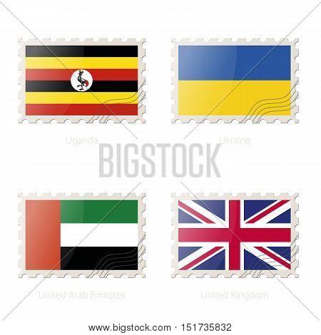 Postage Stamp With The Image Of Uganda, Ukraine, United Arab Emirates, United Kingdom Flag.