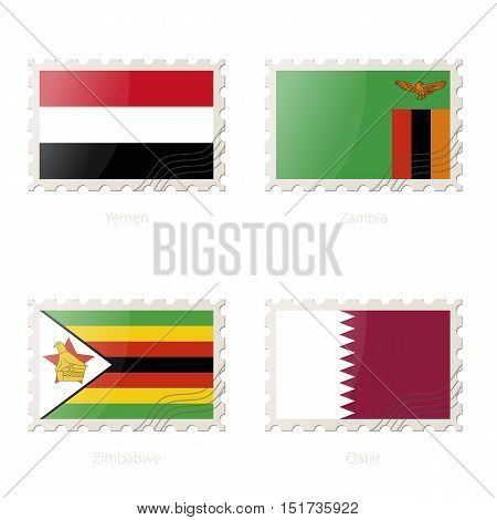 Postage Stamp With The Image Of Yemen, Zambia, Zimbabwe, Qatar Flag.