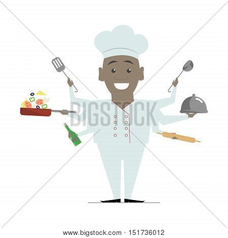 Multitasking flat African American chef. Vector illustration isolated