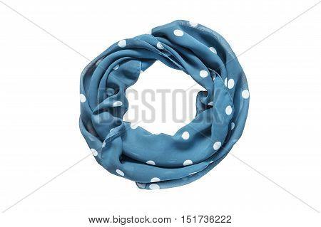 Folded blue chiffon scarf on white background