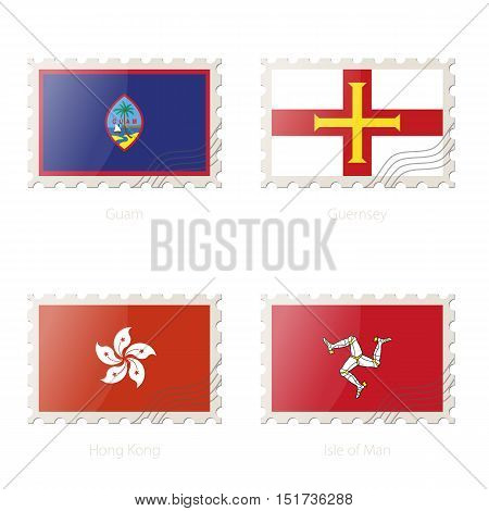 Postage Stamp With The Image Of Guam, Guernsey, Hong Kong, Isle Of Man Flag.