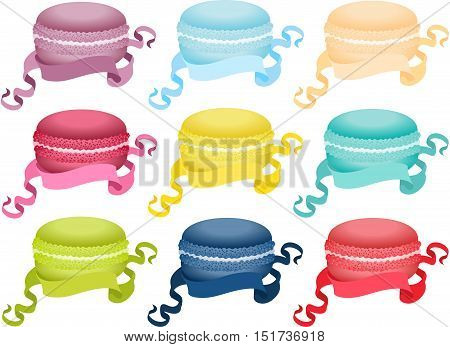 Scalable vectorial image representing a set macaroon with ribbon, isolated on white.